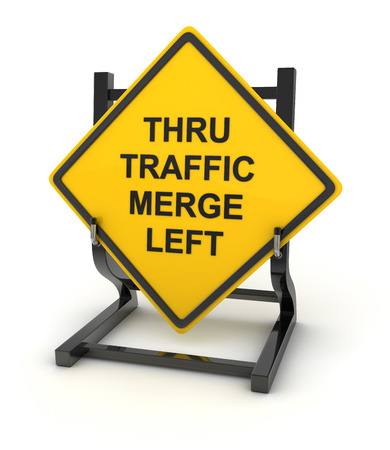 thru: Road sign - thru traffic merge left , This is a computer generated and 3d rendered picture. Stock Photo