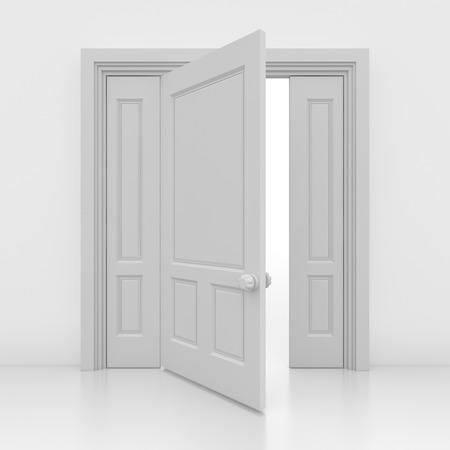 white door: Open the door , This is a computer generated and 3d rendered image.