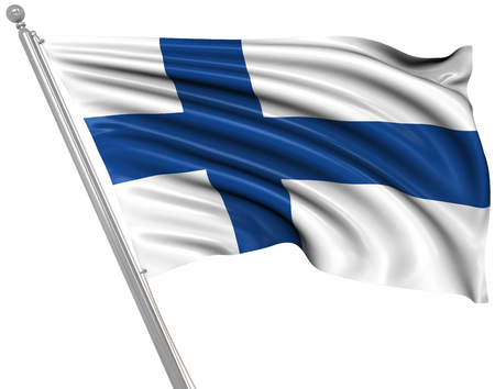 Flag of Finland , This is a computer generated and 3d rendered image.