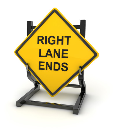 ends: Road sign - right lane ends , This is a computer generated and 3d rendered picture.