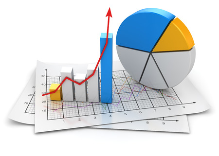 Business chart , This is a computer generated and 3d rendered image. Standard-Bild