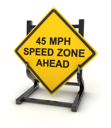 mph: Road sign - 45 mph speed zone ahead , This is a computer generated and 3d rendered picture.