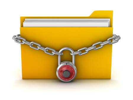 folder with documents: File Protection , This is a computer generated and 3d rendered picture. Stock Photo