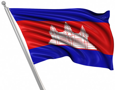 rippled: Flag of Cambodia , This is a computer generated and 3d rendered image.