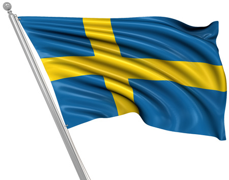 rippled: Flag of Sweden , This is a computer generated and 3d rendered image.
