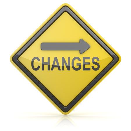 znak drogowy: Road Sign - Changes Ahead Zdjęcie Seryjne