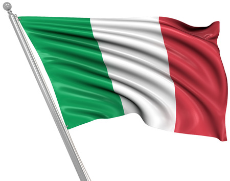 flag pole: Flag of Italy , This is a computer generated and 3d rendered image.