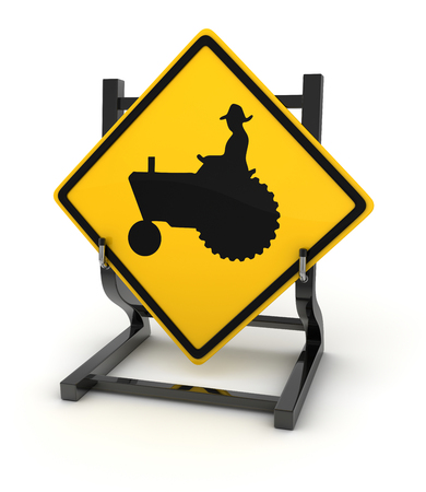 tractor warning sign: Road sign - tractor , This is a computer generated and 3d rendered picture.