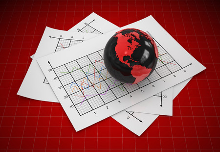 Globe and documents , This is a computer generated and 3d rendered image.