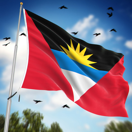 antigua flag: Flag of Antigua and Barbuda , This is a computer generated and 3d rendered image.