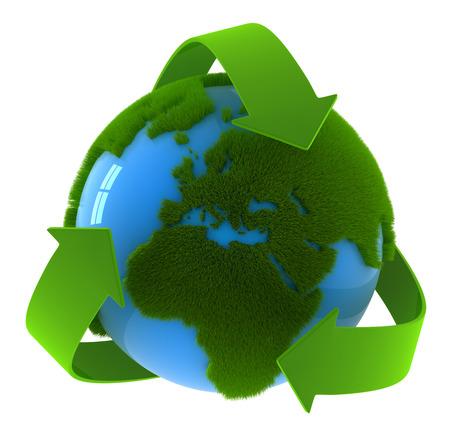 reciclar: Globo y s�mbolo de reciclaje, esta es una imagen generada por ordenador y 3d prestados.