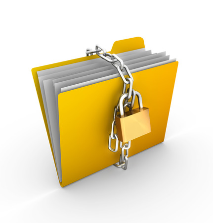 protected: Folder locked by chains , This is a computer generated and 3d rendered image.