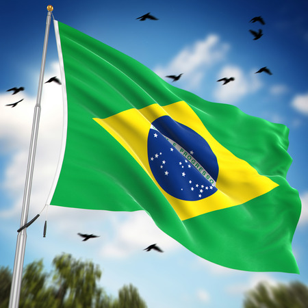 flag pole: Flag of Brazil , This is a computer generated and 3d rendered image.