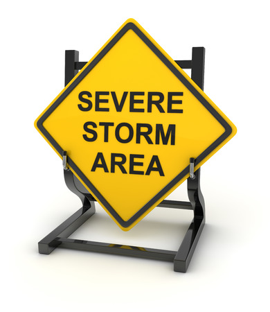 severe: Road sign - severe storm area , This is a computer generated and 3d rendered picture.