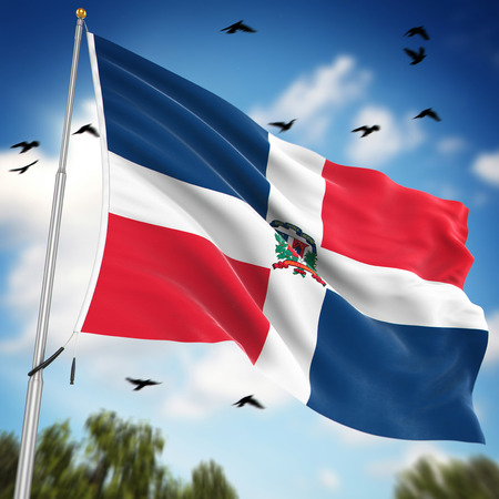 national flag: Flag of the Dominican Republic , This is a computer generated and 3d rendered image.