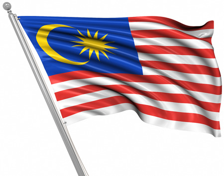 Flagge von Malaysia, Dies ist ein Computer generiertes Bild und 3D gerendert. Standard-Bild - 44197903