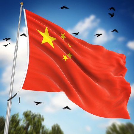 peoples: Flag of the Peoples Republic of China , This is a computer generated and 3d rendered image. Stock Photo