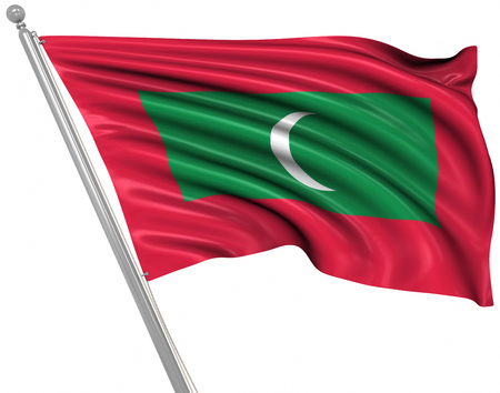 rippled: Flag of Maldives , This is a computer generated and 3d rendered image.