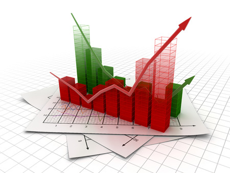 green arrow: Business chart , This is a computer generated and 3d rendered image. Stock Photo