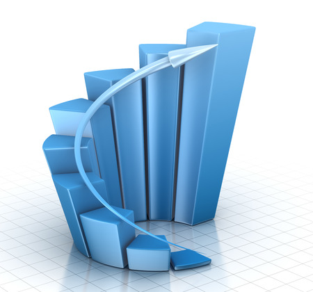 escalation: Blue Chart , This is a computer generated and 3d rendered picture. Stock Photo
