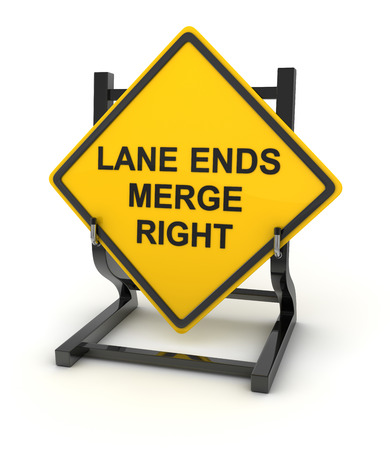 the ends: Road sign - lane ends merge right , This is a computer generated and 3d rendered picture. Stock Photo