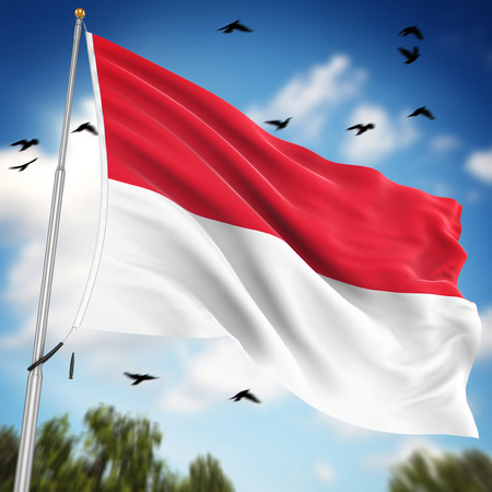 Bandera de Indonesia, esta es una imagen generada por ordenador y 3d prestados.