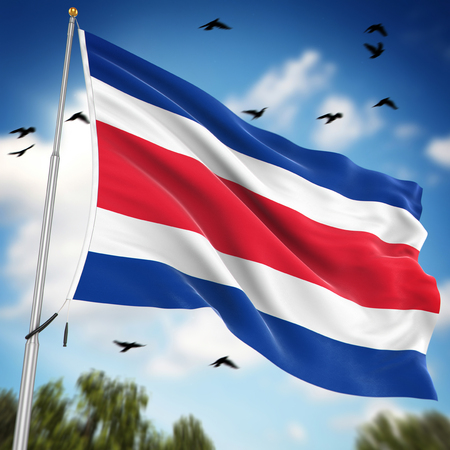 independence day: Flag of Costa Rica , This is a computer generated and 3d rendered image.