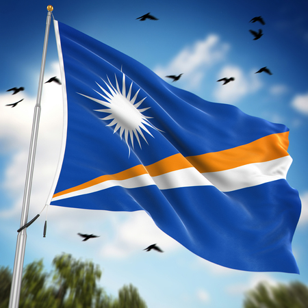 marshall: Flag of the Marshall Islands , This is a computer generated and 3d rendered image.