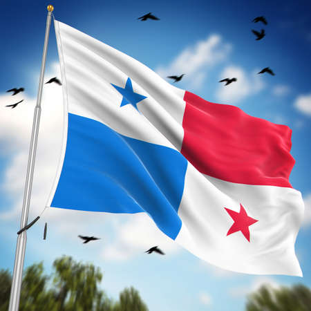 panama flag: Flag of Panama , This is a computer generated and 3d rendered image.