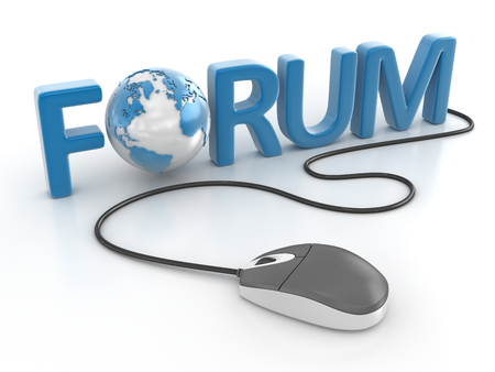 Connect to forum , This is a computer generated and 3d rendered image. Stock Photo