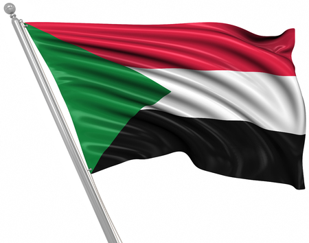 rippled: Flag of Sudan , This is a computer generated and 3d rendered image.