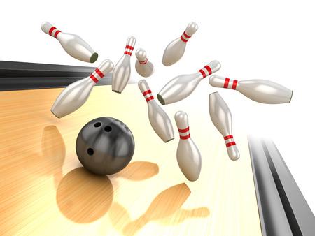 コンピューター生成された、3 d レンダリングされたイメージのピンにクラッシュ ボウリングのボールです。