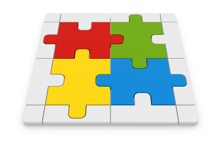 complete solution: Jigsaw puzzle , This is a computer generated and 3d rendered image.