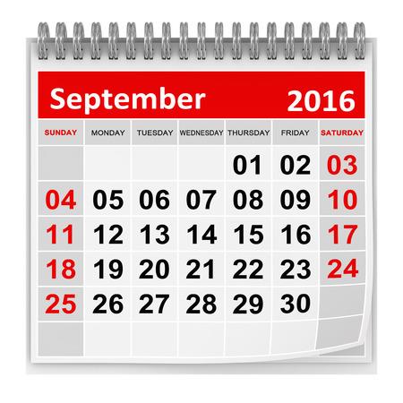カレンダー - 2016 年 9 月コンピューター生成された、3 d レンダリングされたイメージです。