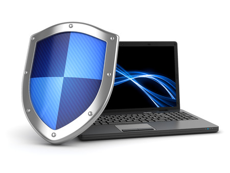 Laptop and shield , This is a computer generated and 3d rendered image. Stock fotó