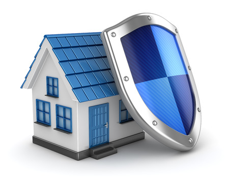 security icon: House and shield , This is a computer generated and 3d rendered image. Stock Photo