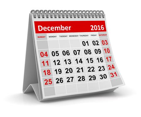 calendario diciembre: Calendario - diciembre de 2016, Esta es una imagen generada por ordenador y 3d prestados. Foto de archivo