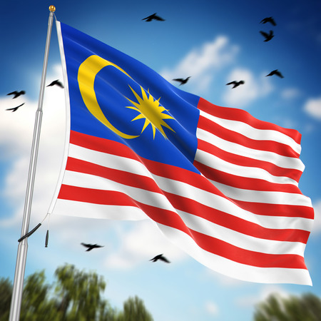 Flag of Malaysia , This is a computer generated and 3d rendered image.