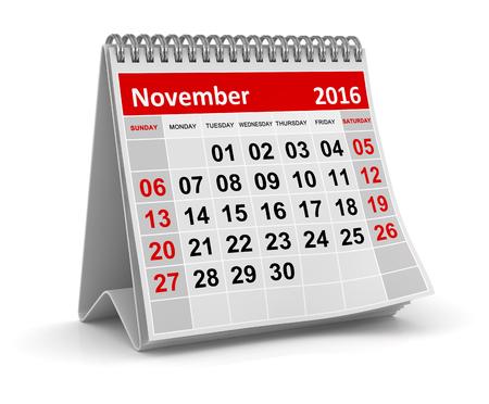 カレンダー - 2016 年 11 月、コンピューター生成された、3 d レンダリングされたイメージです。