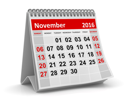 Calendar - November 2016 , This is a computer generated and 3d rendered image.