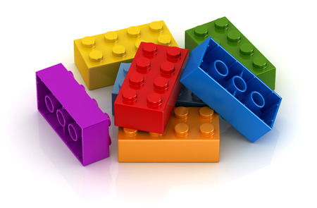 ladrillo: juguetes de colores, esta es una imagen generada por ordenador y 3d rindi�.