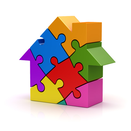 red puzzle piece: Colorful puzzle house , This is a computer generated and 3d rendered picture.