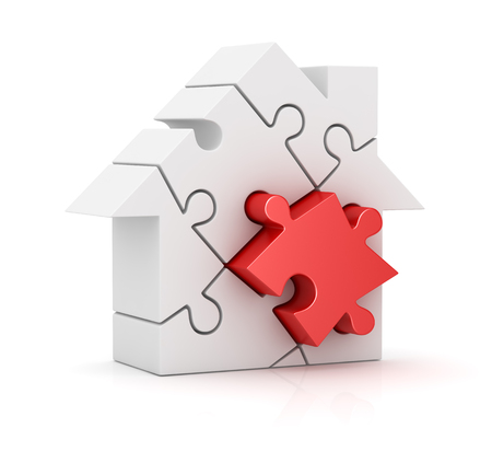 puzzles pieces: Puzzle house , This is a computer generated and 3d rendered picture. Stock Photo