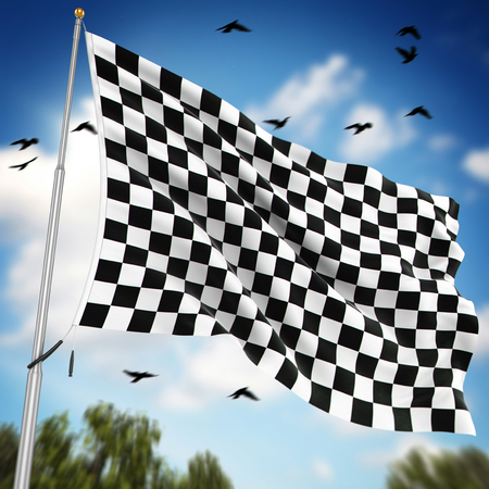 checked flag: Checkered flag , This is a computer generated and 3d rendered image.