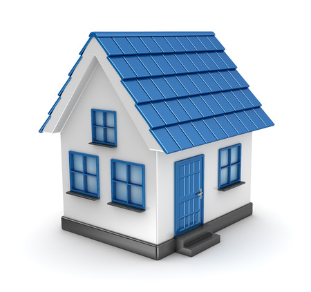 Small blue house model , This is a computer generated and 3d rendered picture. Standard-Bild