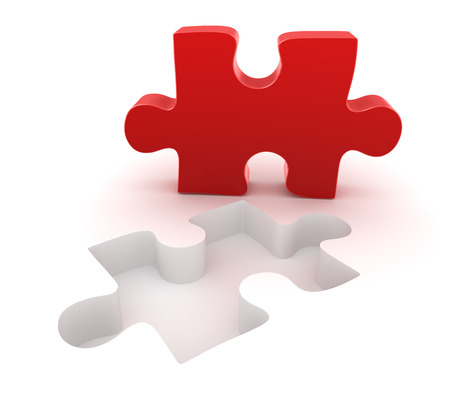 final piece of puzzle: Final red puzzle piece , This is a computer generated and 3d rendered picture.