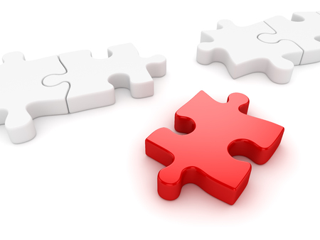 final piece of puzzle: Final puzzle piece , This is a computer generated and 3d rendered picture. Stock Photo