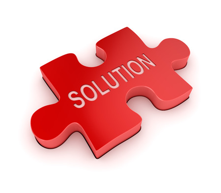 red puzzle piece: Solution text on red puzzle piece , This is a computer generated and 3d rendered picture. Stock Photo