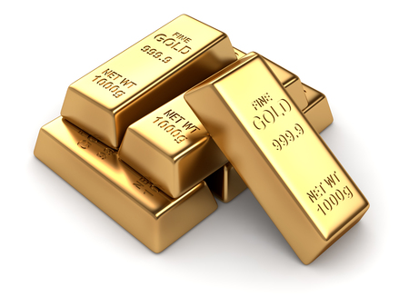 goldbar: Group of gold bars , This is a 3d computer generated image. Isolated on white.