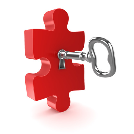Old key with jigsaw puzzle piece , This is a 3d computer generated image. Isolated on white. Standard-Bild